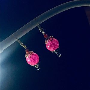 Pink rhinestone dangling earrings